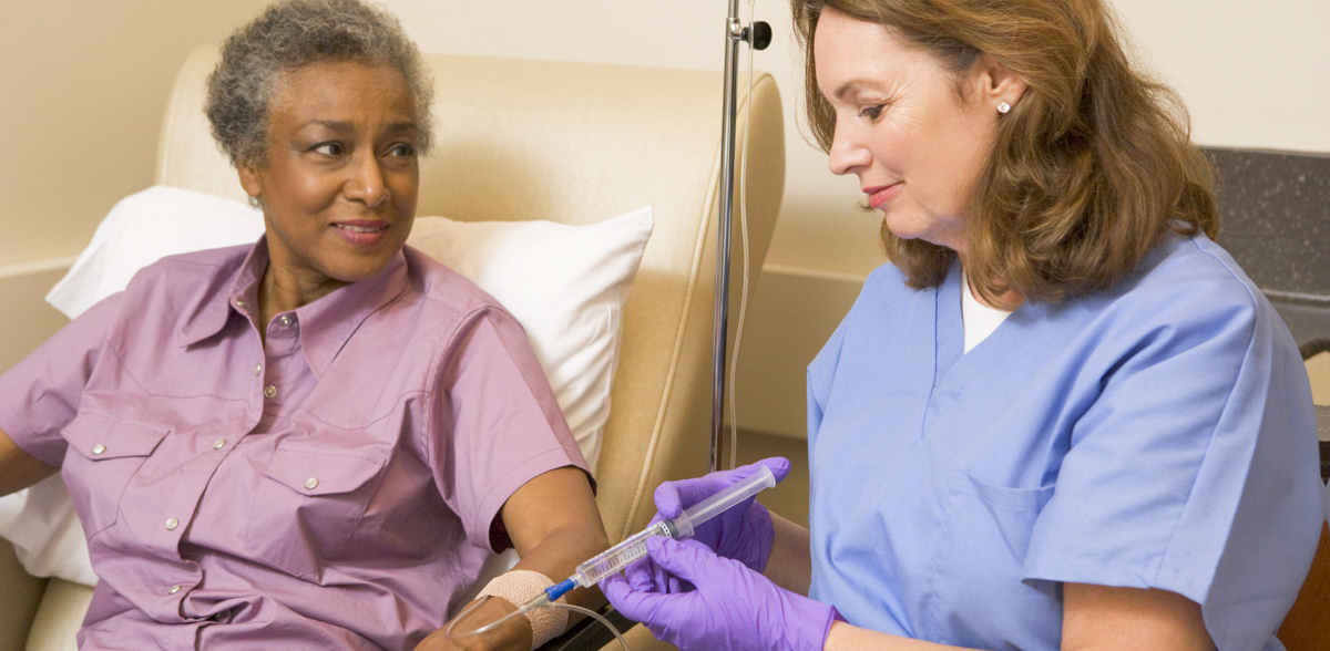 elderly woman and a nurse